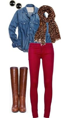 Great casual fall outfit : Red denim, denim blouse, leopard scarf and cognac boots by Paola114