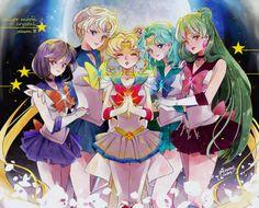 World of Eternal Sailor Moon: Sailor Moon & the Outer Sailor Scouts Sailor Moons, Sailor Moon Manga, Sailor Jupiter, Sailor Moon Crystal, Sailor Neptune, Sailor Uranus, Sailor Moon Art, Sailor Scouts, Disney Marvel