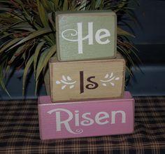 HE Is RISEN Religious Easter Primitive Word Blocks Sign Destressed Stacking Shelf Blocks Home Decor Gift. $26.95, via Etsy.