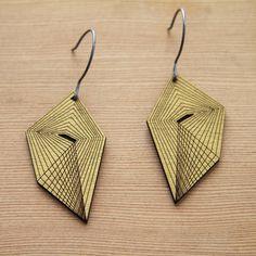 folded pattern laser cut earrings