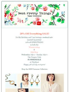 20% Off Summer Sale at Nest Pretty Things. July 2-July 6