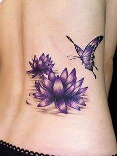 Purple Lotus Women Tattoos Design on Back #tattooswomensback