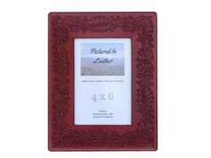 $48 You will love this 4x6 leather picture frame that is embossed with flowers and dyed a beautiful cherry, mahogany color. It has a rich and gorgeous look, just perfect for your mom or wife for an extra special birthday or Christmas gift! Beautiful for adding some leather decor to your home!