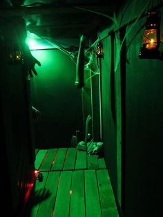haunted house lighting. creaky floor tunnel by deadspider via flickr love the red lights under boards haunted house lighting