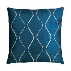 """Set of two handcrafted pillows with ogee-inspired trellis motifs   Product: Set of 2 pillowsConstruction Material: 100% Polyester cover and polyester fillColor: BlueFeatures:  HandcraftedContemporary geometric swirl designEmbroideredInserts included  Dimensions: 18"""" x 18"""" eachCleaning and Care: Spot clean"""