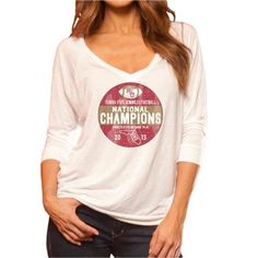 Original Retro Brand Florida State Seminoles (FSU) 2013 BCS National Champions Ladies Viscose Long Sleeve V-Neck T-Shirt - White
