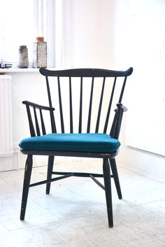 Borge Mogensen armchair with new deep blue velvet color cushion. £349