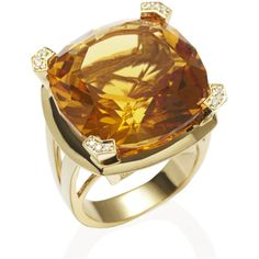 Anakao PARADIGM Large Yellow Gold Citrine Ring ($4,050) ❤ liked on Polyvore featuring jewelry, rings, yellow, yellow citrine ring, gold jewelry, citrine jewelry, talon ring and gold statement ring