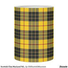 Scottish Clan MacLeod Yellow Black Tartan Plaid Flameless Candle