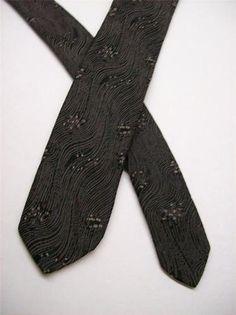 Super Thin Vtg Classic Gray Blk Art Nouveau 30's 40' Mens Tie 1 30   eBay 20.99