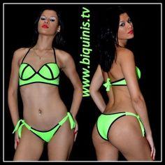 Biquíni IT GIRL 3D Green Fluor com bojo Ref.12313 Tamanhos P,M e G.