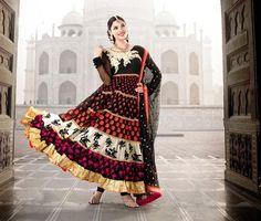 $131.76 Black Full Sleeve Faux Georgette Long Anarkali Salwar Kameez 21724