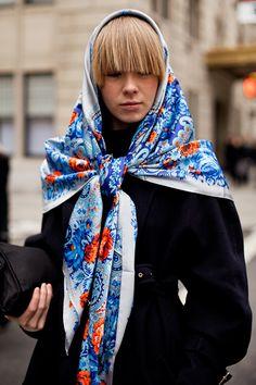 Vika Gazinskaya in a Russian-inspired scarf.