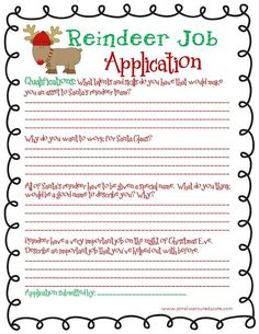 8:13:00 AM   Christmas writing, free Christmas printable, month of joy, reindeer job application   2 comments