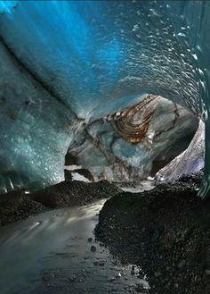 River under Vatnajökull Glacier, Iceland....... I would be very scared!