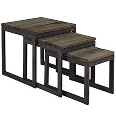 Covert Wood Top Nesting Table Brown