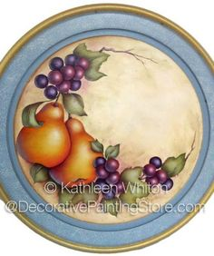 The Decorative Painting Store: Pears and Grapes Pattern - Kathleen Whiton - PDF… Fruit Painting, China Painting, Ceramic Painting, Tole Decorative Paintings, Tole Painting Patterns, Dining Table Decor Everyday, Acrylic Painting Lessons, Hand Painted Plates, Country Paintings