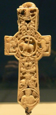 A hand carved Ivory Cross reliquary (11th century)
