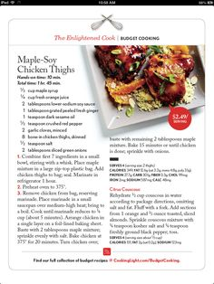 Maple soy chicken thighs