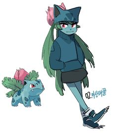 #2. Ivysaur (humanized/gijinka pokemon series by tamtamdi on tumblr)