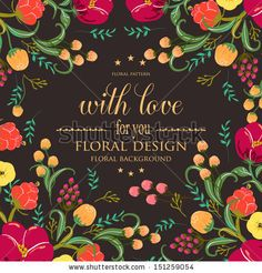 Invitation or wedding card with abstract floral background. by Wedding invitation cards, via Shutterstock (Flower Colors) Hyperstock