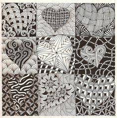 Zentangle hearts by MissyLiss