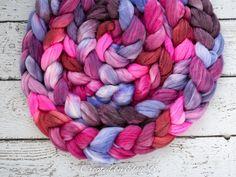 Hello Love - Hand dyed Superwash Merino / Bamboo / Nylon combed top. Good for spinning yarn, felting, blending & weaving.