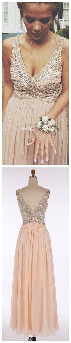 V-Neck Prom Dresses,Long Pink Evening Dress with Beading,Chiffon Prom Dress,Sleeveless Evening Dress,A Line Prom Dress,Maxi Dress