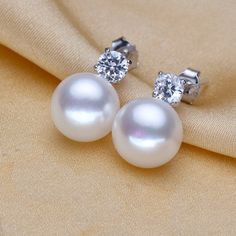 White Genuine Freshwater Real Pearl Earring Stud Cubic Zirconia Diamond Sterling Silver