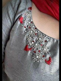 Embroidery On Kurtis, Kurti Embroidery Design, Embroidery Neck Designs, Hand Embroidery Videos, Bead Embroidery Patterns, Hand Embroidery Tutorial, Loom Knitting Patterns, Embroidery Dress, Silk Kurti Designs