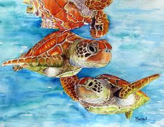 Turtle Crossing Painting by Maria Barry - Turtle Crossing Fine Art Prints and Posters for Sale