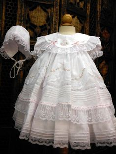 NWT Will'beth White Fancy Lace Dress 3pc Set Preemie Bonnet & Bloomers Baby Girl. Wow! So sweet to have such fancy options in a premature size.