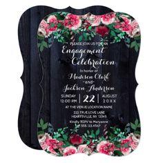 #engagement #party #invitations - #Wine Blush & Navy Wood Engagement Party Invitation