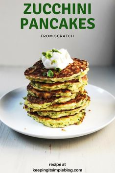Food Advertising by This recipe is a super easy one to make and such a great way to use up zucchini when it is in abundance in the summer. My family is not a big fan of zucchini but they love this dish! Summer Recipes, Healthy Dinner Recipes, Breakfast Recipes, Vegetarian Meals, Zucchini Pancakes, Pancakes From Scratch, Good Food, Yummy Food, Crepe Recipes