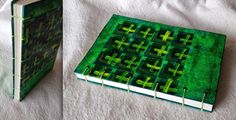 coptic stitched book with collage painted cover
