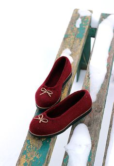 Bordo wool felted ballet flat shoes any color and size