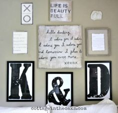 Bedroom Gallery Wall with DIY oversized framed letters #diy #howto