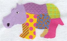 Patchwork Hippo Embroidered Towel | Flour Sack Towel | Linen Towel | Dish Towel | Kitchen Towel | Hand Towel | Embroidery