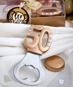 Gold 50th Design Bottle Openers