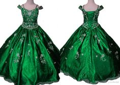 Dark Green 2016 Girl's Pageant Dresses Short Sleeves A Line Rhinestone Designer Cheap Baby Kids…