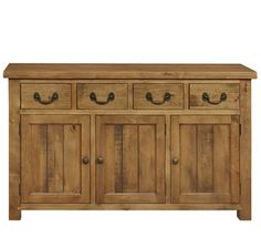 Cotswold Large Sideboard  An antiqued pine sideboard with 4 drawers and 3 doors. This rustic range has unfinished saw marks to add character to the pieces.    Matching Items available.