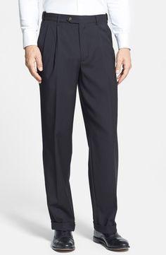 New Berle Self Sizer Waist Pleated Trousers ,BLACK fashion online. [$79.5]newtopfashion top<<