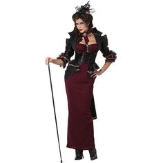 Transform into the leading lady of darkness with the Lady of the Manor Adult Costume that will make your walk in style during the Halloween.