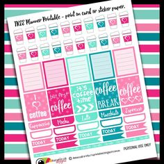 RebeccaB Designs: FREE Printable Planner Stickers - Coffee