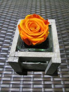MANAUS versión rústica. Es una rosa natural preservada que dura más de un año sin perder sus propiedades, textura y color. Rosa Eterna en florero con madera y piedras.