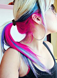hair Hair Color Ideas hair color ideas for black hair Bold Hair Color, Bright Hair Colors, Blonde Color, Colorful Hair, Colours, Peekaboo Highlights, Pink Peekaboo Hair, Peek A Boo, Edgy Hair