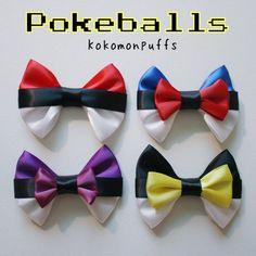 Cute Pokemon Inspired Pokeball Hair Bows by kokomonpuffs on Etsy