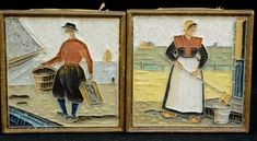 Two of four vintage tiles depicting Dutch life. All marked Delft , There is Volendam, Spakenburg, and Marken