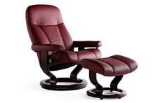 Stressless Consul - Classic Base – SL Recliners Small Recliner Chairs, Small Recliners, Recliner With Ottoman, Leather Recliner Chair, Modern Recliner, Swivel Recliner, Stress Less, Leather Furniture, Real Leather