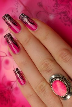 Pink and black nails idea